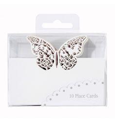 Hvide bordkort med smukke sommerfugle - Bordpynt til fester