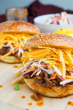 Apple BBQ Pulled Chicken Sandwiches (pictured with optional cheddar cheese)