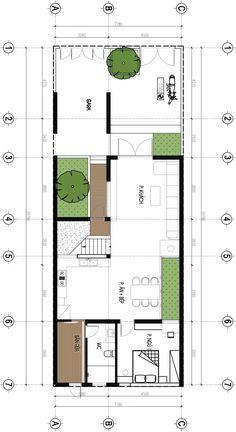 Mặt bằng nhà phố Small House Design, Modern House Design, Small Villa, Model House Plan, Villa Plan, Long House, Arch House, Narrow House, Container House Plans