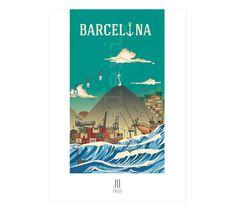BARCELONA SEA VIEW. Reproducción digital de #Jil-Laura en papel Nettuno Artico 280 g/m². 29,5 x 21 cm, 15€. #Artprint #ilustration #ilustracion #dibujo #drawing #Art #Barcelona