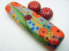 Moogin Beads- Poppy field enamelled lampwork / glass bead set - SRA by mooginmindy on Etsy