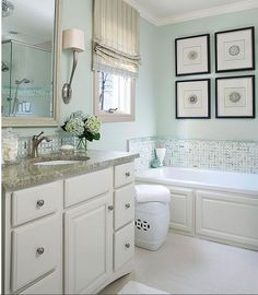 - Bathrooms - The 12 Best Bathroom Paint Colors Our Editors Swear By Create a spa-like retreat with the coastal aesthetic of soft green paint. Paired with paint colors for bathrooms such as white, the hue bridges traditional and contemporary. Beach Bathrooms, Bathroom Spa, Grey Bathrooms, Beautiful Bathrooms, Bathroom Remodeling, Bathroom Ideas, Master Bathroom, Bathroom Makeovers, White Bathroom