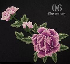 Set of 2 Color Pcs Full Bloom Peony patch Flower patch sew on patch embroidered patch applique Size : 6# 30 cm X 18 cm 7# 30 cm X 18 cm Quantity : 1 set ( 2 patches )