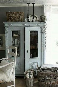 Lovely Vintage Blue Armoire   I Want!