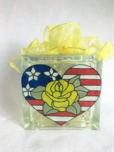 Yellow Rose Of Texas Patriotic Centerpiece Lighted Glass