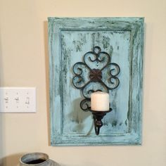 Shabby chic wall hanging candle holder by centervillecreations