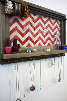 Jewelry Organizer Jewelry Holder Barnwood Chevron by hudsonlace