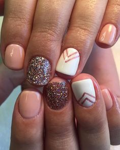 Emmadoesnails gel gels gel polish gel mani nails nail art short nails nail design cute nails nude nails glitter nails fall nails white nails chevron nails~These are SOO cute! Fall Gel Nails, Pink Gel Nails, Nails Polish, Nude Nails, White Nails, My Nails, Acrylic Nails, Glitter Nails, Summer Nails