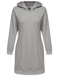 Loose Long Sleeves Hooded Solid Hoodie Casual Dresses