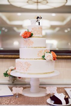 Love the cake topper! Cake by: Honey Crumb #cake #caketopper #weddingcake #caketable #brideandgroom #honeycrumb