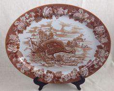 "BROWNAntique 1930s Woods Burslem  21"" Turkey Platter, THANKSGIVING Transferware #WoodsEngland"