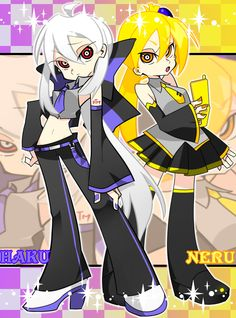 Haku and Neru from Vocaloid Panty and Stocking style!