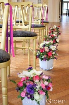 Bloemen voor de huwelijksceremonie verzorgd door Stijlvol Groen