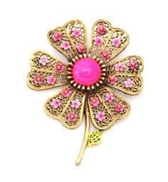 Pink Enamel Flower Brooch ART 1960s by TheFashionDen on Etsy