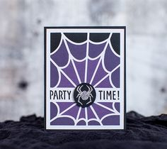 """Party Time Halloween Card - It's time to get spooky! Finished card measures 4.25"""" W x 5.25"""" H. Images are from the Creepy Critters digital cartridge. - Dezi Moss"""