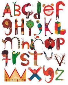 Alphabet by Daniel Montero Cute Alphabet, Alphabet Print, Alphabet Design, Doodle Lettering, Graffiti Lettering, Lettering Design, Art Mots, Character Letters, Abc Poster