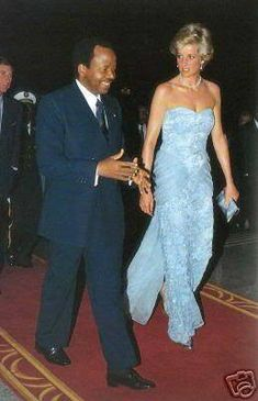 March 21, 1990: Princess Diana with President Paul Biya at a Presidential Banquet at Unity Palace in Yaoundé, Cameroon.