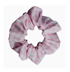 Scrunchies Pink Gingham (Free Shipping) Ponytail Holder Hair Accessories Made in USA by ScrunchieKing on Etsy