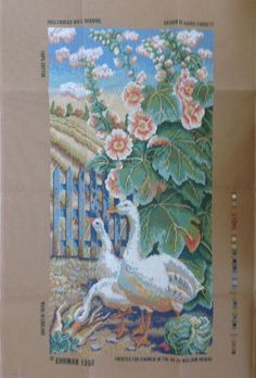 Hollyhocks Wallhanging Kaffe Fassett Ehrman Needlepoint Tapestry Kit Geese Old