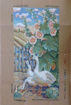 Hollyhocks Wallhanging Kaffe Fassett Ehrman Needlepoint Tapestry Kit Geese Old