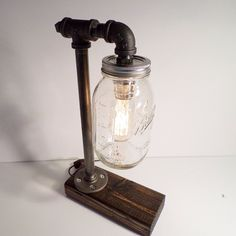 Quart Ball Mason Jar Edison lamp - bookshelf end/Table Desk lamp - Antiqued finished wood - Steam punk style light New york loft industrial by UrbanIndustrialCraft on Etsy
