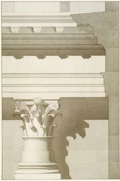 Ink wash rendering Classical Architecture, Historical Architecture, Architecture Design, Drawing Architecture, Corinthian Order, Building Illustration, Grisaille, Urban Setting, Archaeology