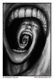 Mind devour, Surreal Drawing by Sebastian Eriksson.  Multi-layered Pain I feel it!