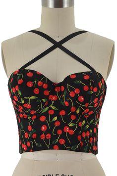 cherries jubilee crop top - black