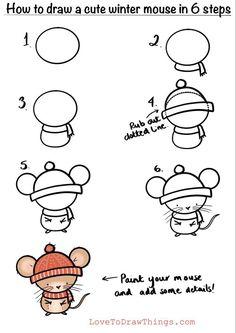 Cute Easy Drawings, Art Drawings For Kids, Doodle Drawings, Art Drawings Sketches, Drawing For Kids, Animal Drawings, Art For Kids, Easy Christmas Drawings, Christmas Doodles