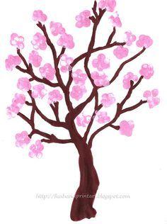 Counting Fun! Fingerprint Chery Blossom Tree