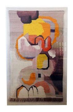 Image of Large Scandinavian Mid-Century Framed Tapestry Acrylic Frames, Acrylic Box, Tapestry Weaving, Wall Tapestry, Modern Tapestries, Mid Century Art, Box Frames, Vintage Walls, Fabric Art