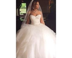 Ball Ruffles Sweetheart Tulle Princess Gown 2017 Wedding  Dresses