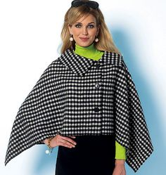 Butterick 5819.  Very loose-fitting, single-layer (wrong side shows) wrap or cape has collar variations or self-lined hood, flat-fell seams, shaped hemline, and unfinished edges.