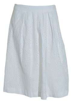 Charter Club Eyelet Aline Skirt 8 Pleated Boho Lace Knit Lined White NEW #CharterClub #ALine