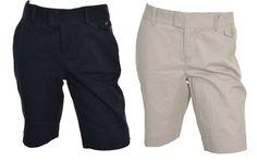 Dockers Womens Truly Slimming Twill Bermuda Shorts 4 Beige Blue Long NEW #DOCKERS #BermudaWalking
