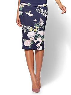 7th Avenue Pull-On Pencil Skirt - Navy Floral - New York & Company