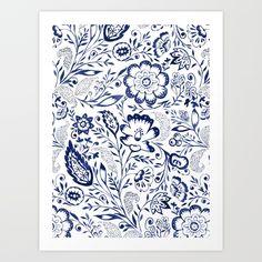 Folk Floral Indigo Art Print by Jacqueline Maldonado | Society6