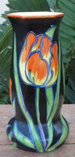 Very prized Czech Art Deco Pottery Covered Vase produced by the Ditmar Urbach company in the sought after Tulip pattern-