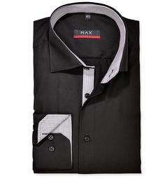 Modern Fit polopriliehavá košeľa Čierna jednofarebná 100% bavlna Popelín (plátno)