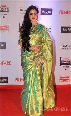 Rekha on the red carpet at the Filmfare Awards show. #Bollywood #Fashion #Style #Beauty #Desi #Saree