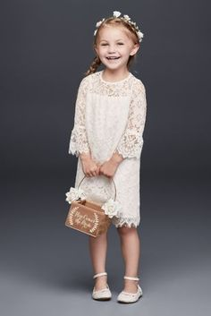 Your flower girl could fit right in with your boho chic bridesmaids with our extensive selection of bohemian flower girl dresses. Find a boho flower girl dress for your littlest bridal party member at David's Bridal. Bridesmaid Flowers, Bridal Flowers, Lace Flowers, Bridal Lace, Bridesmaid Dresses, Bridal Bouquets, Flower Girl Dresses Boho, Tulle Flower Girl, Girls Dresses