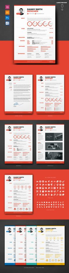 Clean Graphic Resume Bundle Save 50%! Professional and modern resume with matching cover letter and portfolio templates - great for graphic designers and other creatives.