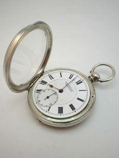 ANTIQUE 19thC VICTORIAN SOLID SILVER LEVER POCKET WATCH, 15 JEWELS, B HAM 1886