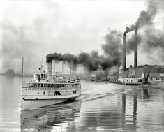 "This would have also traveled to the Perrysburg area. Here it is seen in downtown Toledo, Ohio, circa ""White Star steamer Owana leaving for Detroit. Old Photos, Vintage Photos, Vintage Art, Vintage Items, Shorpy Historical Photos, Great Lakes Ships, Steam Boats, Ohio Usa, Toledo Ohio"