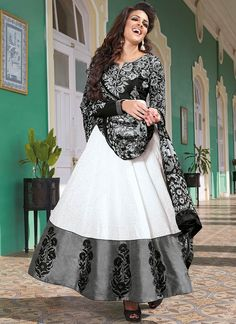 White & Black Cotton Anarkali Suit