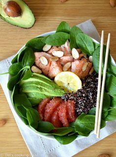 Salade de quinoa au saumon et à l'avocat, vinaigrette au pamplemousse   Del's cooking twist