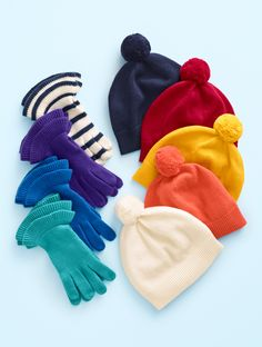 We have just the right styles to wrap her in warmth, comfort, and incredible softness, day or night. Giving our Ruffle Gloves and Pom Pom Hat is like giving a hug! | Talbots