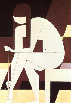 Girl untying her sandal, 1973 by Yiannis Moralis. Cubism. nude painting (nu)