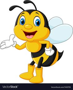 Adorable bee presenting isolated Royalty Free Vector Image , Cartoon Disney, Cartoon Bee, Animal Crafts For Kids, Art For Kids, Bee Pictures, Ladybug Crafts, Simple Cartoon, Cute Bee, Bee Art
