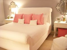 gray blue and pink bedroom with white bed. its so pretty and simple. but light at the same time. i love it